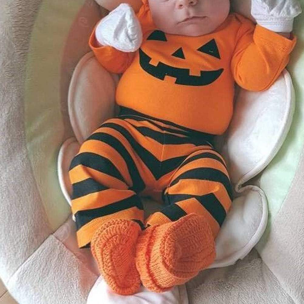 Neugeborenes Baby Halloween Kost/üm Kleidungsset K/ürbis Langarm Strampler Hosen Hut 3 st/ücke Kleidung f/ür 0-18 Monate