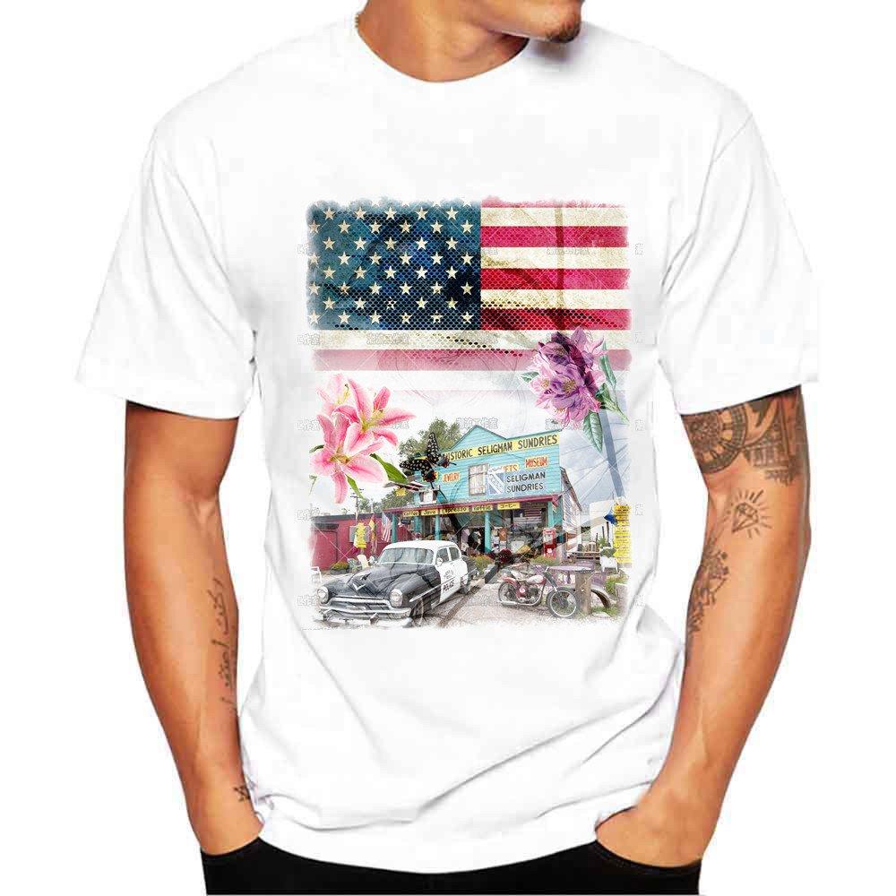 Zulmuliu Men T Shirt,Fashion USA Flag Print Tee Shirt Summer Casucal Blouse for Boy (White,M)
