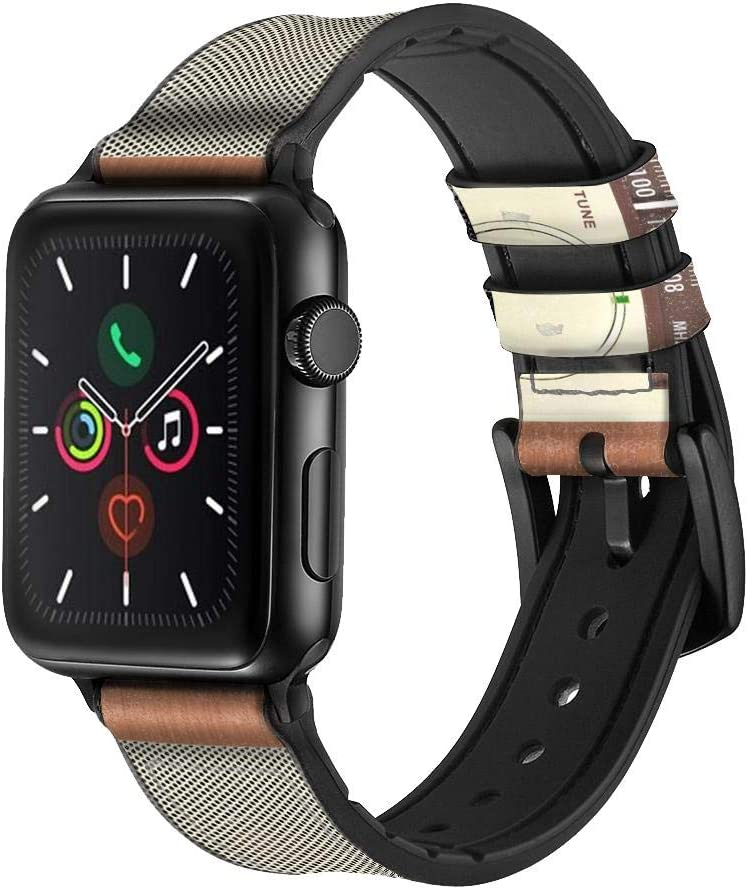 CA0594 FM AM Wooden Receiver Graphic Leather & Silicone Smart Watch Band Strap for Apple Watch iWatch Size 38mm/40mm