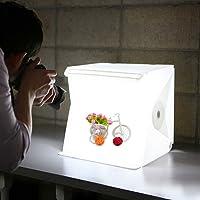 Mini tenda pieghevole studio fotografico portatile. Kit fotografico box camera chiara con luce LED e due fondali (bianco e nero)