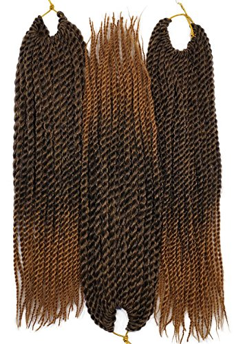 Thin Twist (3Packs/Lot Thin Senegalese Twist Braids Hair 12inch 30strands/pack 50gram/pc Ombre #Black/27 Mixed Color Synthetic Fiber Crochet twisting Braiding Hair Extensions)