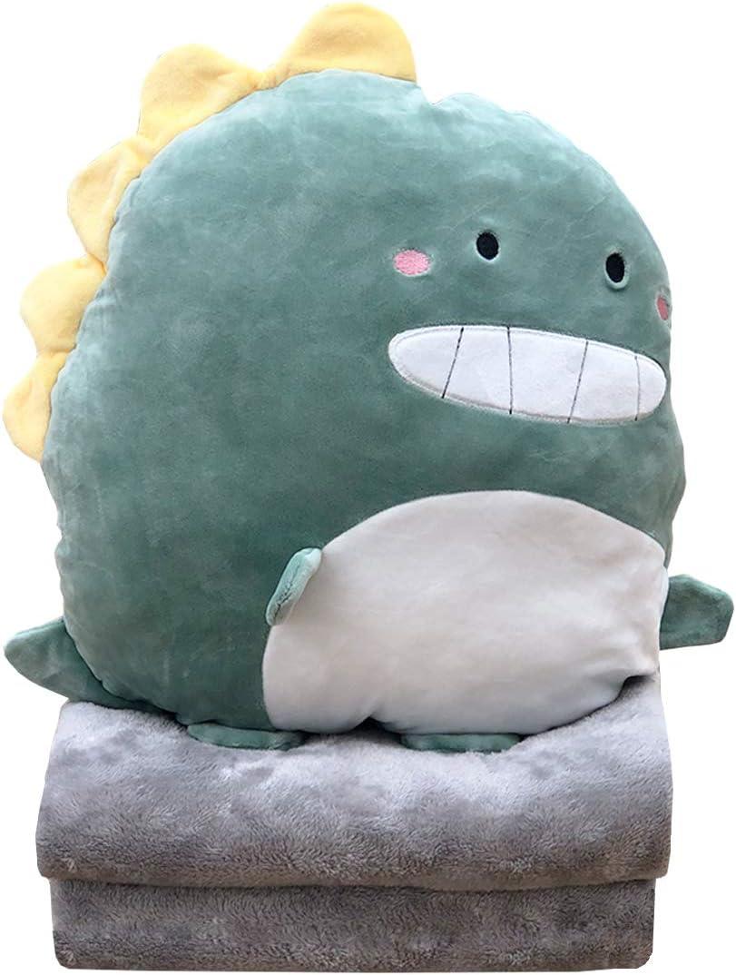 Girls Boys Gifts for Birthday Hofun4U Soft Dinosaur Plush Hugging Pillow 16 Inch Travel Cute Anime Throw Pillow Stuffed Animal Doll Toy with Coral Fleece Blanket Valentine Holiday Christmas