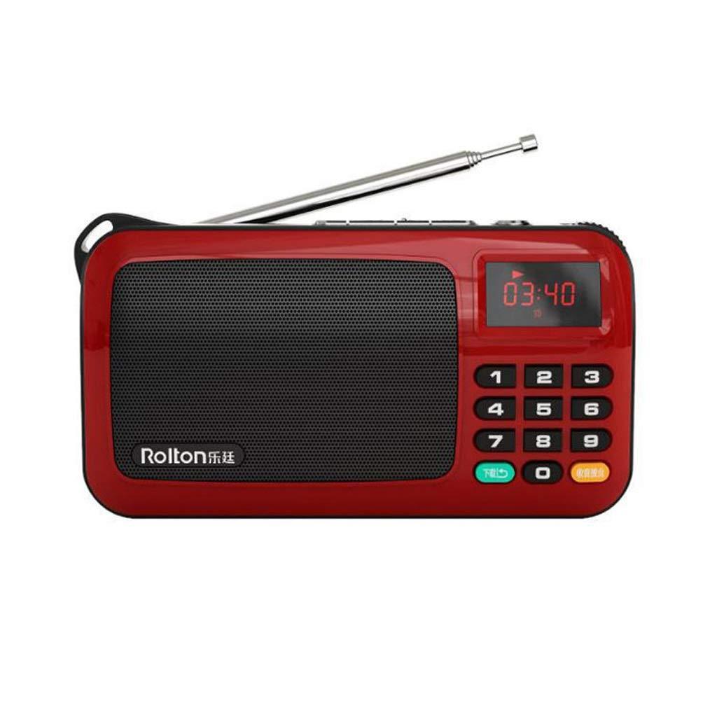 ZWS Radio FM Portable Mini Radio Speaker Music Player TF Card USB LED Display Flashlight Current Affairs Information (Color : Red) by ZWS