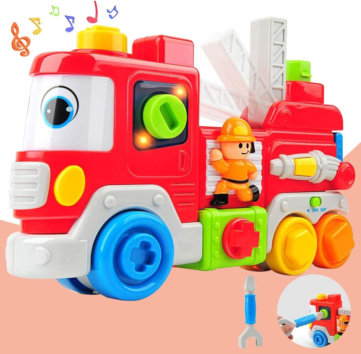 GizmoVine Coche Juguetes Bebes 2 Año Juguete Educativo Camión De Bomberos con Música Juguete Educativo Temprano para Bebés Niños
