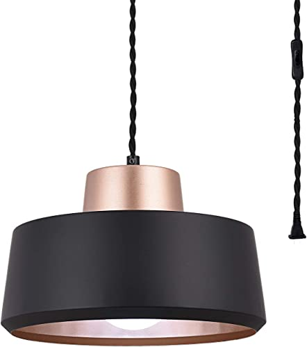 SEEBLEN Plug in Pendant Light Black Finish Hanging Light with 15 Ft Plug in Cord On Off Switch Vintage Metal Pendant Light Fixtures for Island Living Room Bedroom Coffee Bar