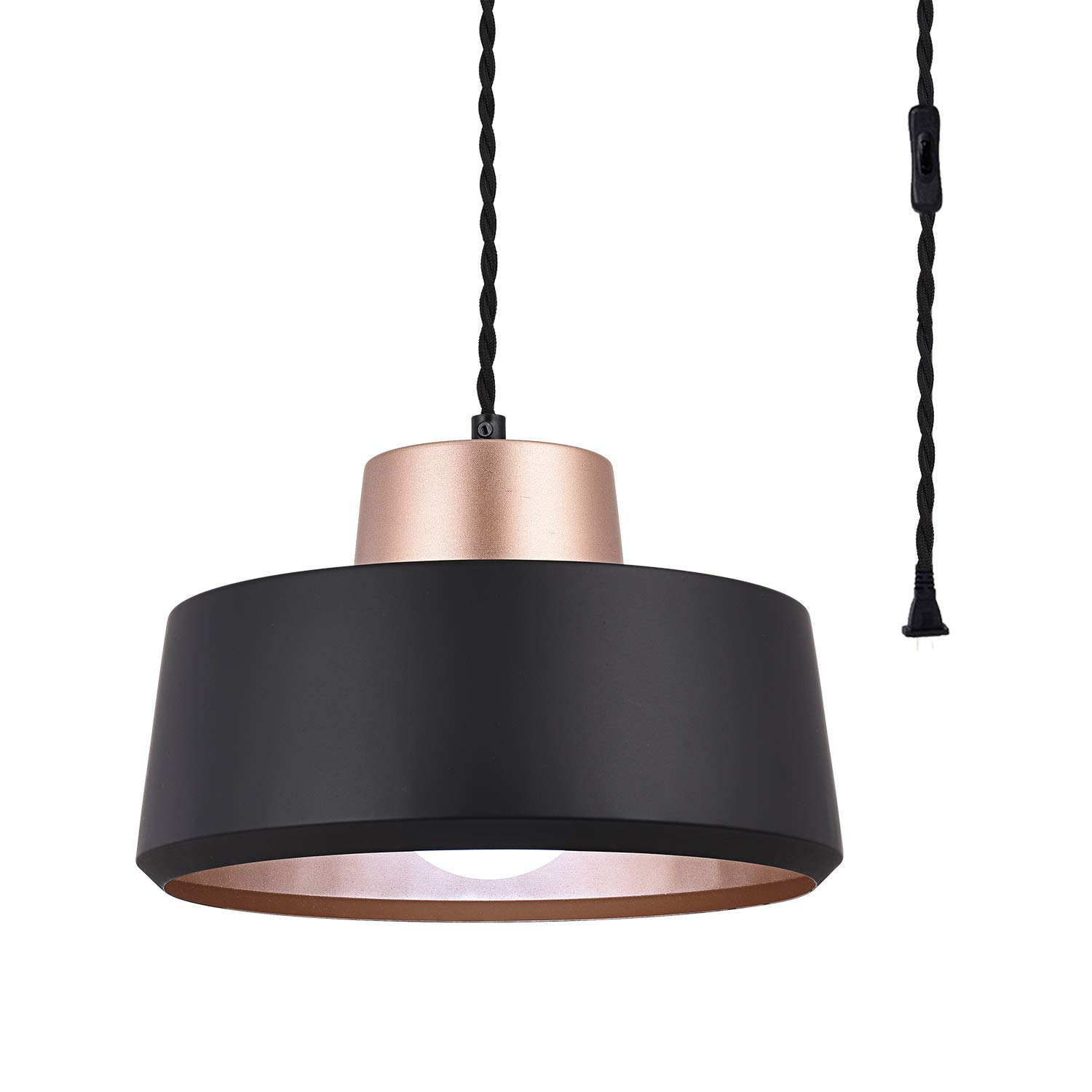 SEEBLEN Modern Plug in Pendant Lights, Black Metal Ceiling Light Fixture Hanging Lights with Plug in Cord 178 Inches in-Line On/Off Switch