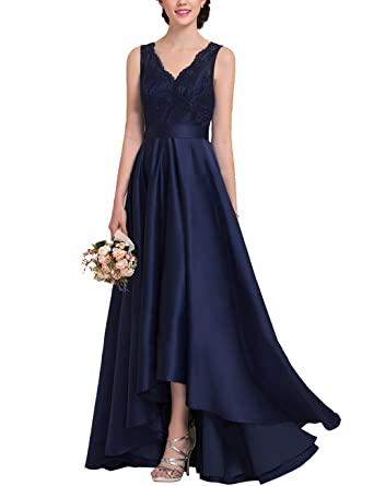 Womens V-Neck High Low Lace and Satin Evening Prom Dress Long Formal Gown with