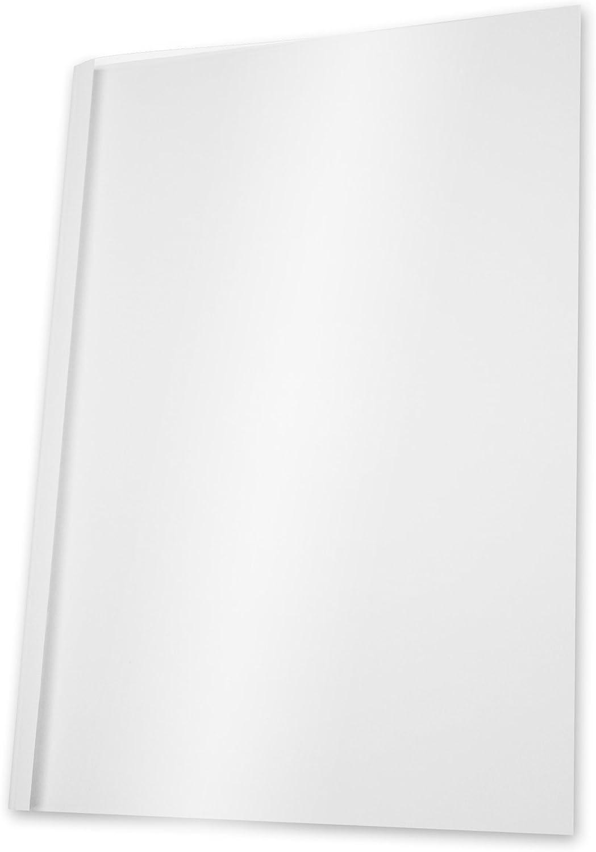 100 pz larghezza dorso 4 mm per 101-121 fogli formato A12 colore: Bianco//trasparente Pavo Copertine per rilegatura a caldo