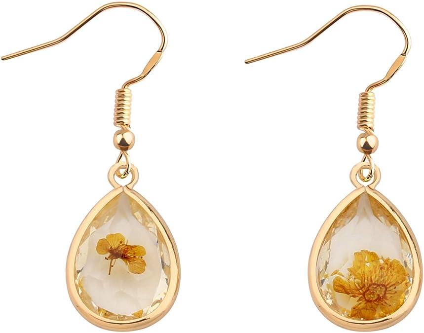 Real dried Dandilion Wildflower ear plugsGauges or dangling teardrop earrings.