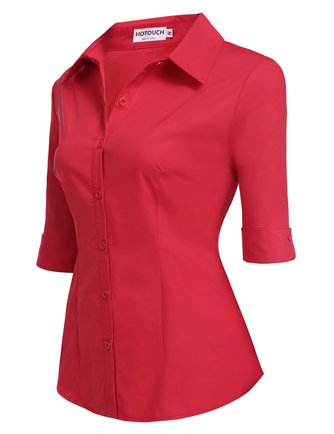 Hotouch Womens Cotton Basic Simple Button Down Shirt Slim Fit Formal Dress Shirts