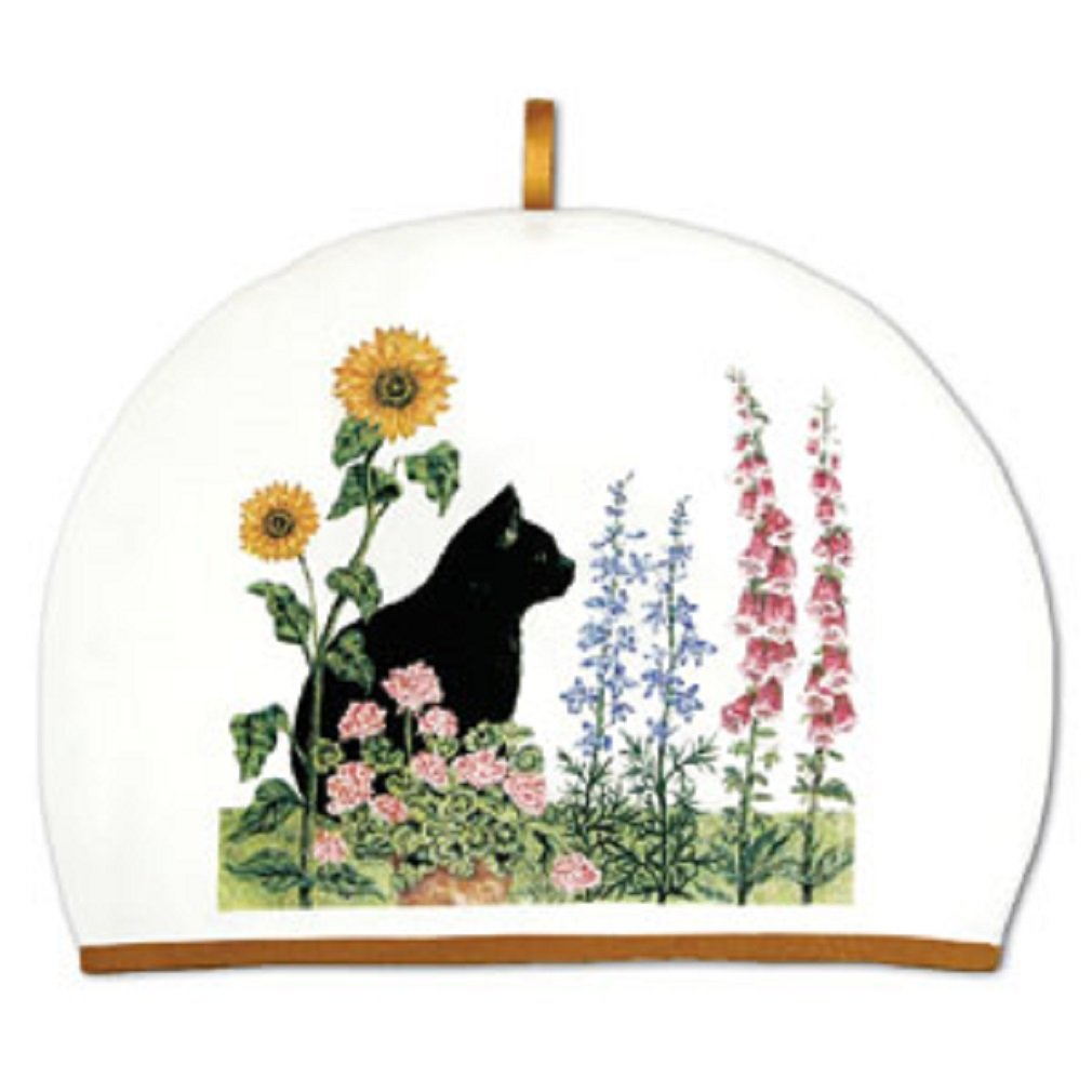 Tea Cozy Black Cat & Flowers by Alice's Cottage