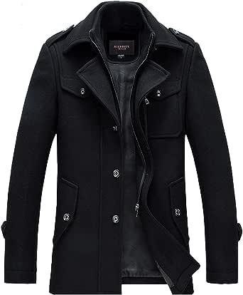 Guandoo Men's Winter Slim Fit Wool Coat Jacket Stand Collar Overcoat Mid Long