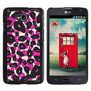 iKiki Tech / Estuche rígido - Leopard Spots Animal Pink Black - LG Optimus L70 / LS620 / D325 / MS323