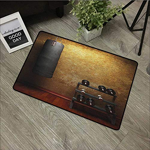 - Interior door mat W35 x L59 INCH Fitness,Gym Room with Equipments Dumbbells Work Out Concept 3D Digital Print, Black Redwood Pale Brown Natural dye printing to protect your baby's skin Non-slip Door M