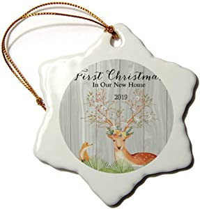 Mesllings Animal Deer and Fox First Christmas in Our New Home 2019 Christmas Ornament 3
