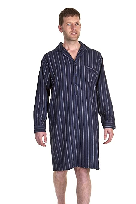 390d665f94 Haigman Mens 100% Brushed Cotton Nightshirts - Striped Checked - Sizes +  Colours  Amazon.co.uk  Clothing