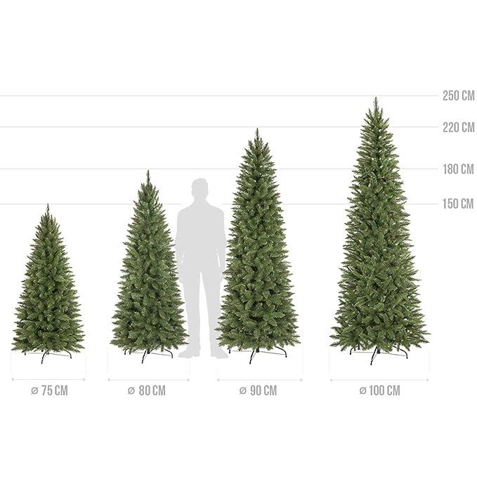 Fairytrees Kunstlicher Weihnachtsbaum Slim Kiefer Natur Weiss