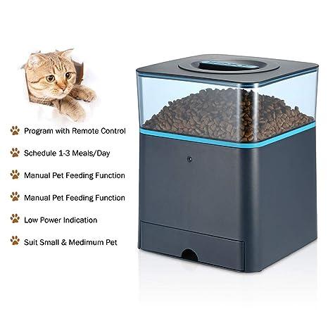 Alimentador Automático De Mascotas Programable para Gatos Y Perros, con Control Remoto, Dispensador De Alimentos, Tazón 1-3 Comidas/Día + Registro: ...