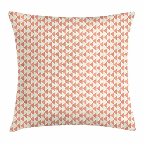 Lunarable Geometric Throw Pillow Cushion Cover, Abstract Triangle Shapes with Striped Patterns Pastel Colors Modern, Decorative Square Accent Pillow Case, 16 X 16 Inches, Salmon Peach Pale Yellow