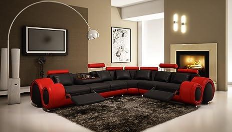 Vig Furniture 4087 Red U0026 Black Bonded Leather Sectional Sofa