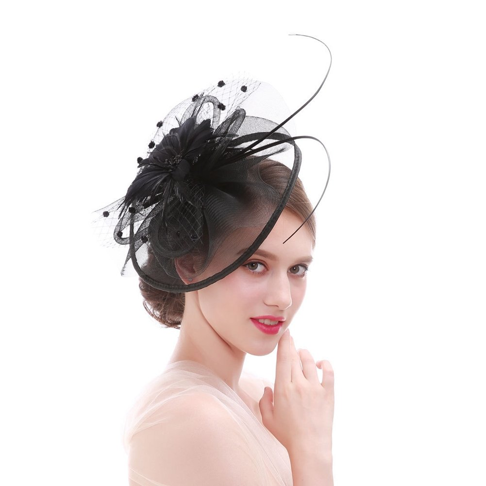 StageOnline Pferderennen Festival Hut Hochzeit Fascinator Haarclip Gaze Blume Feder Braut Hut Zeremonie Hut Formal Party Kirche Rennsport Weinlese Art