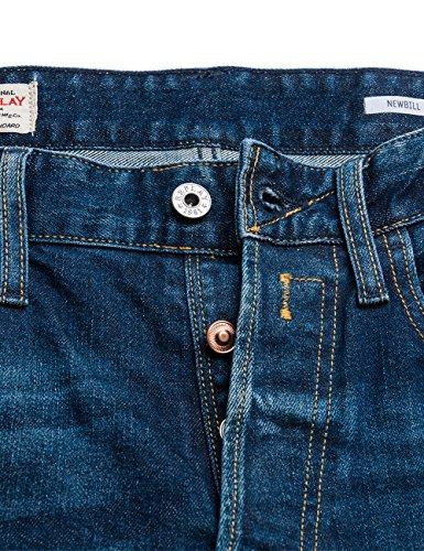 Denim Newbill Hombre REPLAY Deslizante de Ajuste 7 para Pantalones Azul Vaqueros Blue vnnf4dS