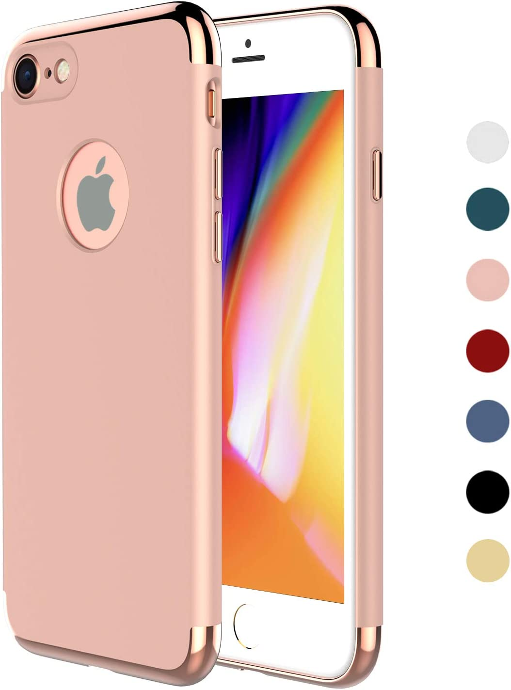 "iPhone 7 Case,iPhone 8 Case,RORSOU 3 in 1 Ultra Thin and Slim Hard Case Coated Non Slip Matte Surface with Electroplate Frame for Apple iPhone 7 (4.7"") and iPhone 8 (4.7"") - Rose Gold"