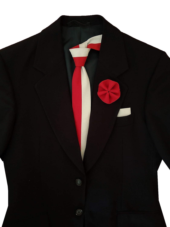 Corbata rojo y gris y bolso de mano y pin de solapa de algodón, cosido a mano 6 cm línea 2020
