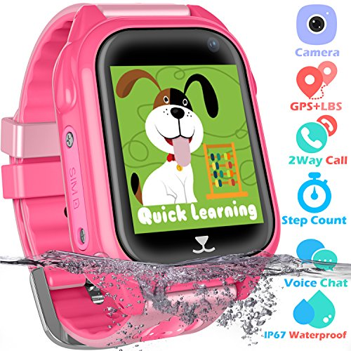 Waterproof GPS Tracker Watch for Kids - IP67 Water-Resistant Smartwatches Phone with GPS/LBS Locator SOS Camera Voice Chat Games for Back to School Children Boys Girls (01 S8 Pink Premium Edition)