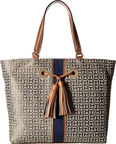 Tommy Hilfiger Women's TH Grommet Tote Tan Dark Chocolate One Size