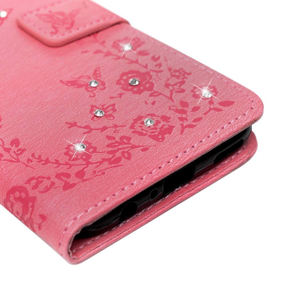 Vagenno Coque Huawei P Smart 2019,Housse /Étui en PU Cuir et TPU Silicone Souple Diamant Anti-Scratch Cas de T/él/éphone Housse Fermeture Magn/étique Support Portefeuille Carte Slots,Rouge