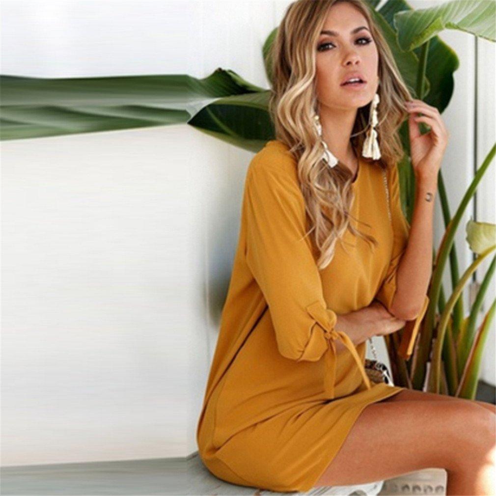 LnLyin Mode Damen Chiffon Kleid Herbst Abschnitt /Ärmel Rundhals Kleid Fashion Kleid Orange S, Acid Blue