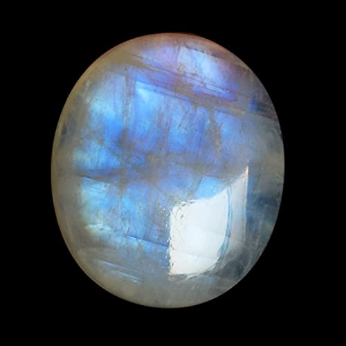 Blue Flash Gemstone Supplies Round Rainbow Moonstone FG176 Rainbow Moonstone Cabochon Pendant Stone