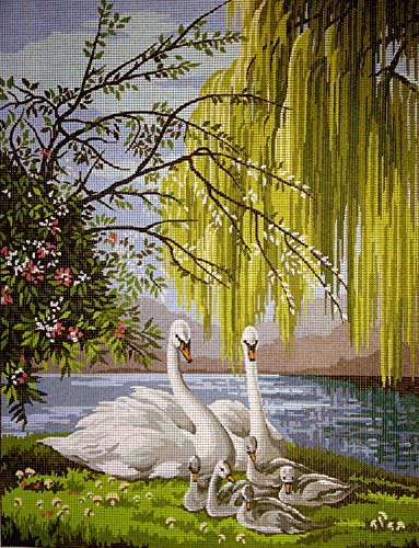 Hudemas Needlepoint Kit Swans 12x16in 30x40cm printed canvas 236 ()
