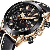 Relojes de los hombres, Lige Cronógrafo Resistente al agua militar deportes reloj de cuarzo analógico para hombre Big Face correa de piel fecha Fashion Casual Vestido reloj de pulsera Oro rosa negro