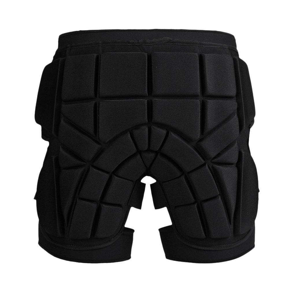 MonkeyJack Cushioned Ski Hip Butt Pad Inline Roller Skating Snowboarding Padded Safe Shorts Protective Gear S M L - Black, L