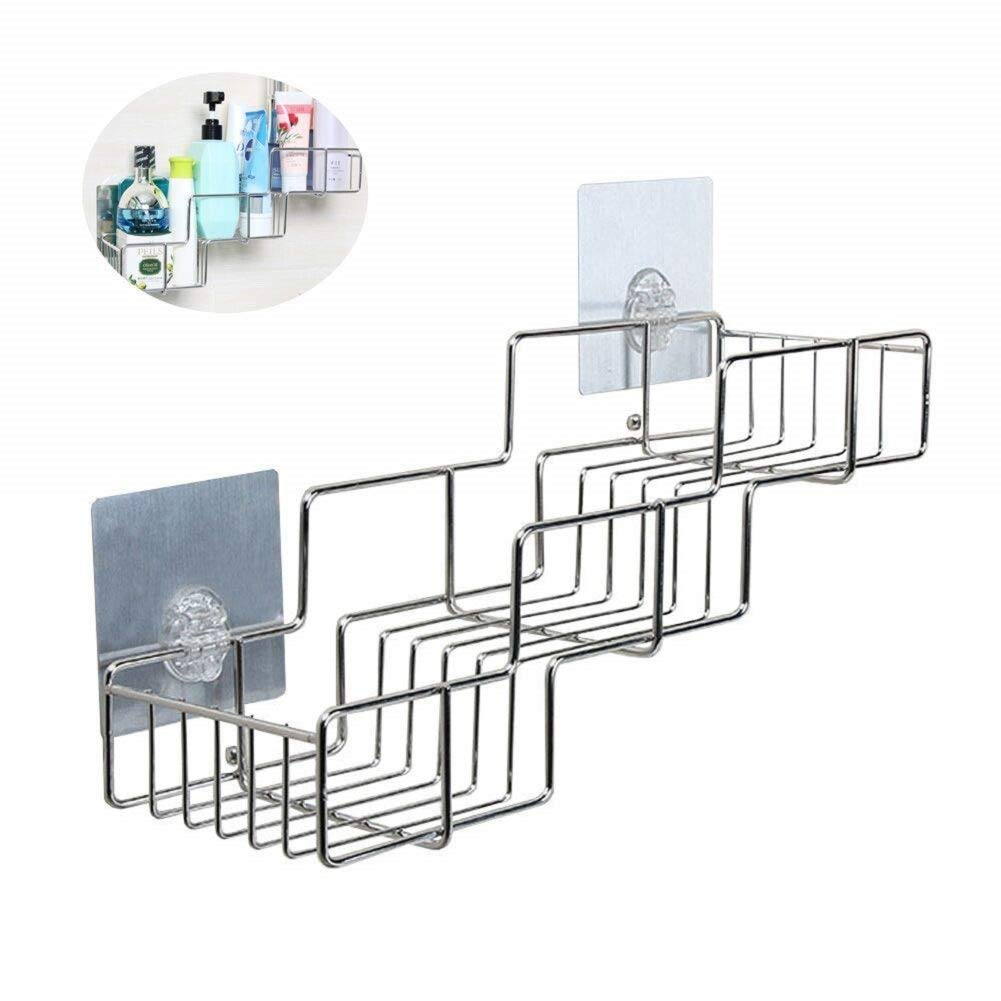 Bathroom Storage Shower Rack, Trapezoid Stainless Steel Shelf Organizer for Shampoo No Drilling No Holes Removable Adhesive Pad Shower Caddy (Style A)