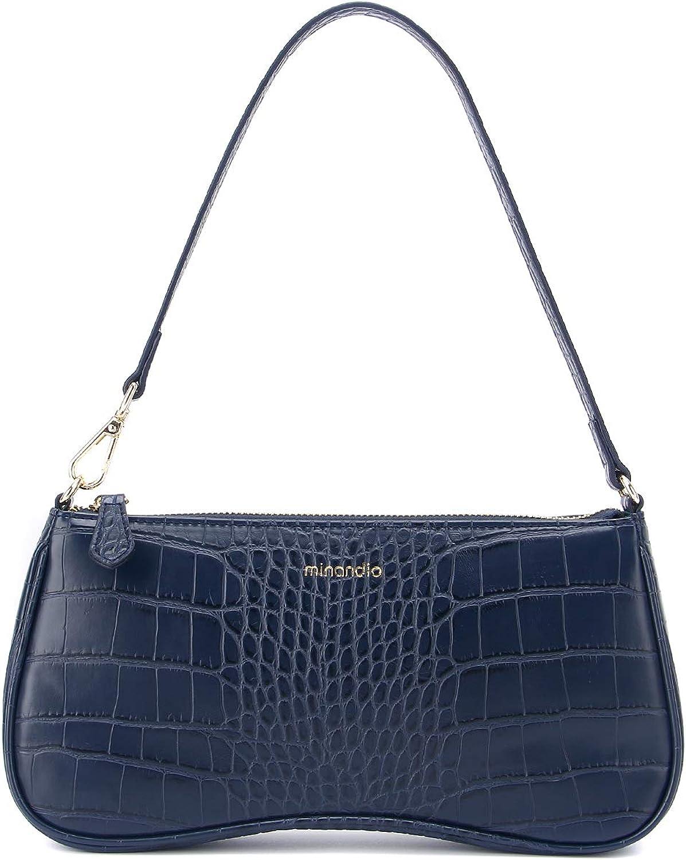 MINANDIO Leather Retro Classic Clutch Bag Crossbody Handbag Hobe Shoulder for Women with Zipper