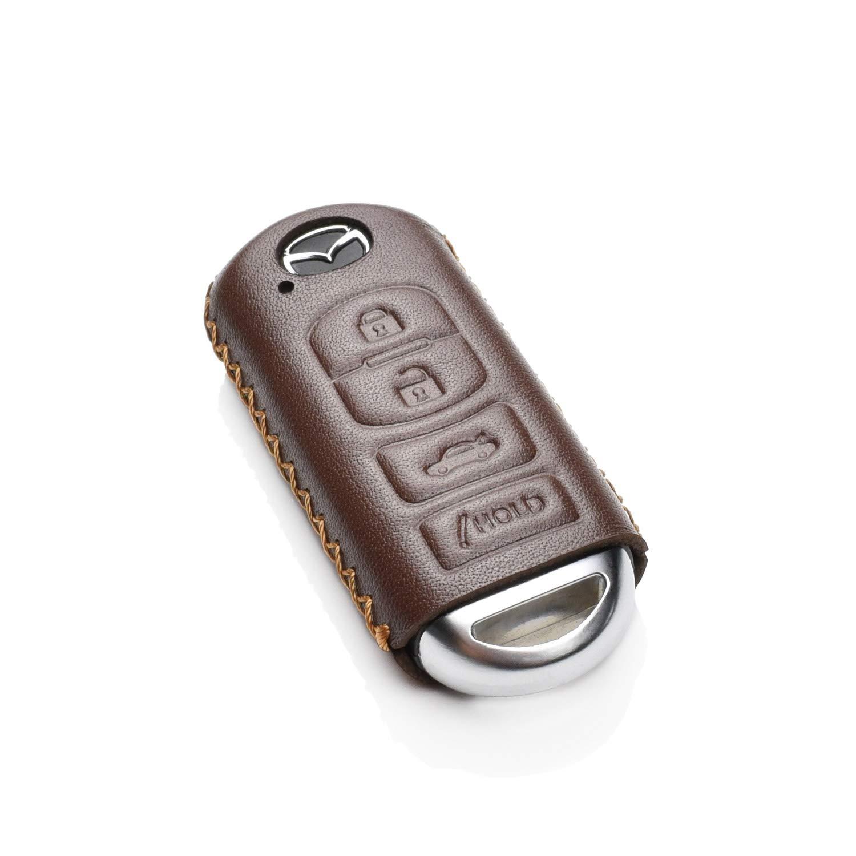 CX-5 CX-9 Vitodeco Genuine Leather Smart Key Fob Case Cover Protector for Mazda 3 Atenza Axela VITODECO INC MX-5 Miata 4 Buttons, Red CX-7 6