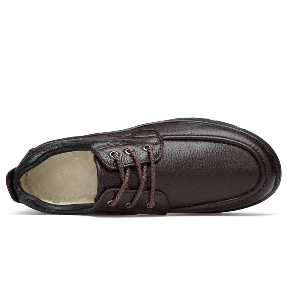 Sunny&Baby Herrenmode Light Oxford Casual Weichen Aseismatic Light Herrenmode Belt Outsole Formale Schuhe (warme Velvet optional) Abriebfeste (Farbe : Braun, Größe : 47 EU) Warm Braun 550aea