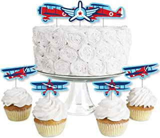product image for Taking Flight - Airplane - Dessert Cupcake Toppers - Vintage Plane Baby Shower or Birthday Party Clear Treat Picks - Set of 24
