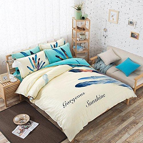 TheFit Paisley Textile Bedding for Adult U848 Blue Sunshine Feather Duvet Cover Set 100% Cotton, Queen Set, 4 Pieces