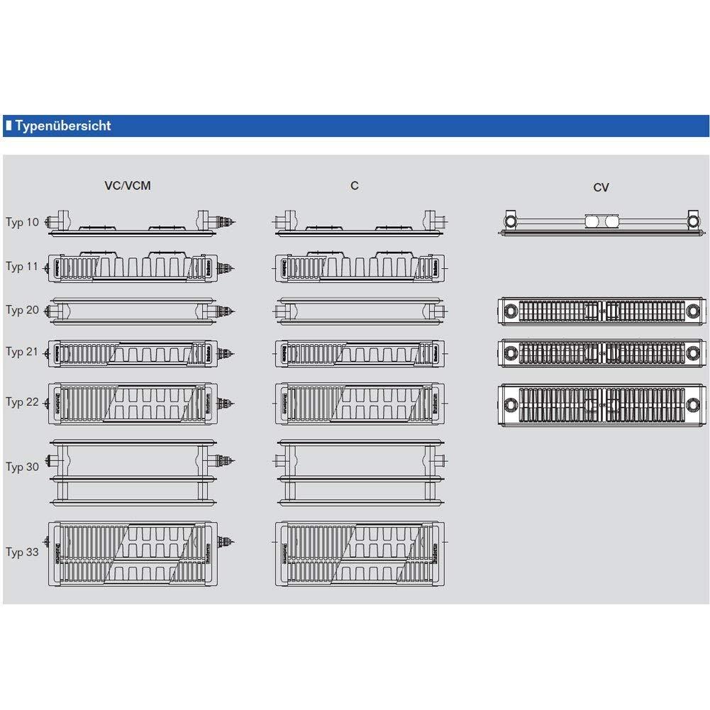 Buderus Kompaktheizk/örper Typ 22 H/öhe 600 x L/änge 700 mit Halter und Stopfen