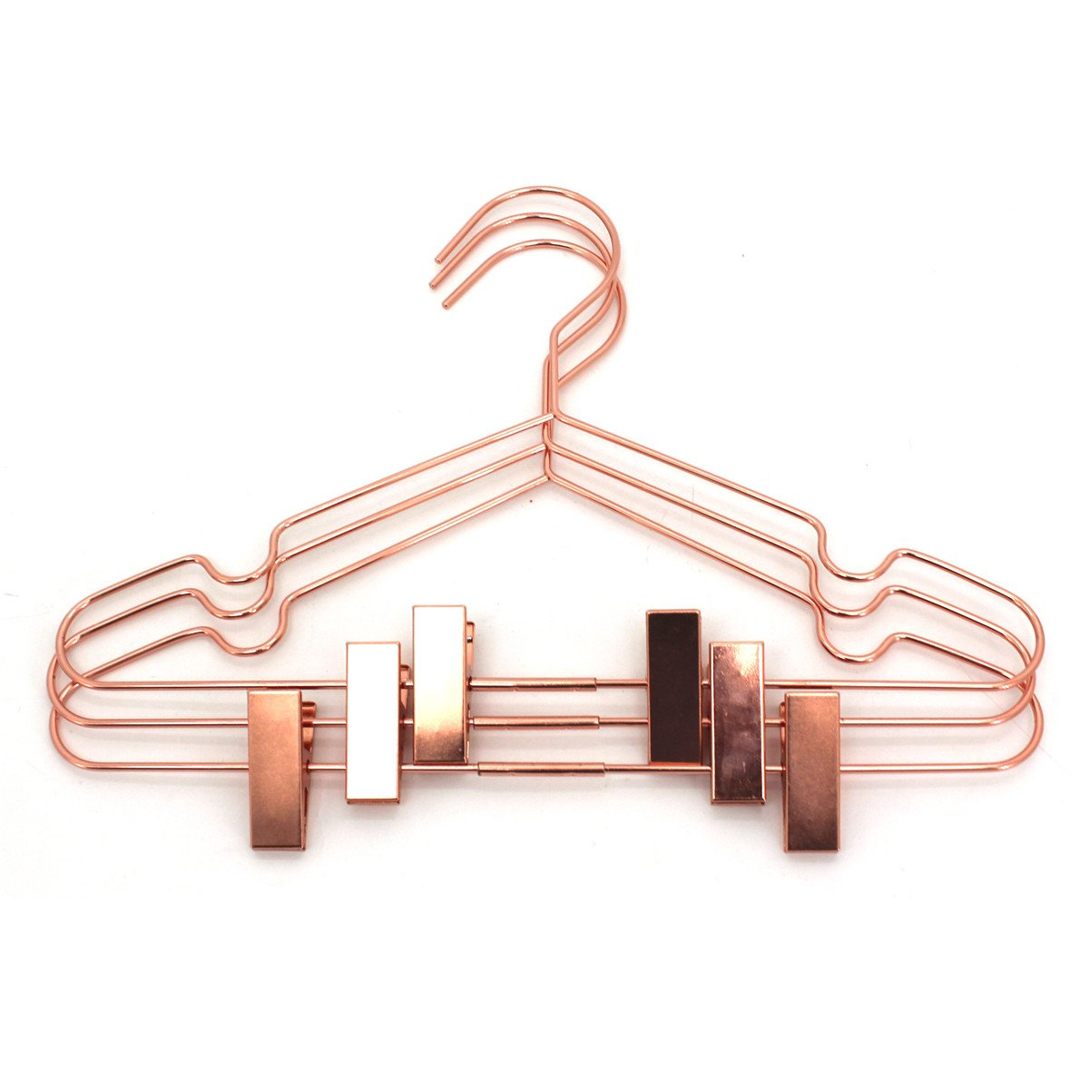 Koobay 50Pack 13'' Rose Copper Gold Shiny Metal Wire Top Clothes Hangers with Clips for Shirts Coat Storage & Display by Koobay (Image #6)