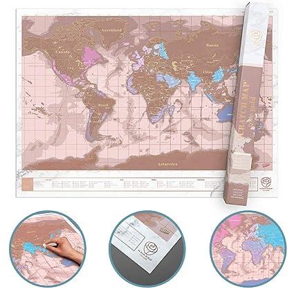 Carte Du Monde à Gratter Rose Dorée Mappemonde à Gratter Rose Or Révélez Les Pays Visités Carte De Voyage