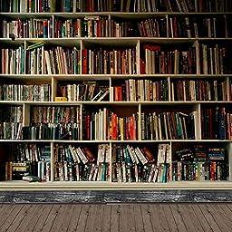 GladsBuy Rich Books 10\' x 10\' Digital Printing Photography Backdrop Bookshelf Theme Anti-UV Studio Background YHB-150