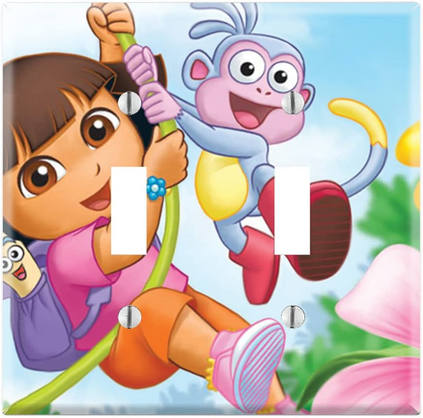 Dual Toggle Wall Switch Cover Plate Decor Wallplate - Dora the Explorer and Boots