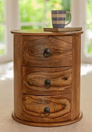 THEHOMEDEKOR Polo Solid Wood Round Chest of Three Drawers Natural Finish