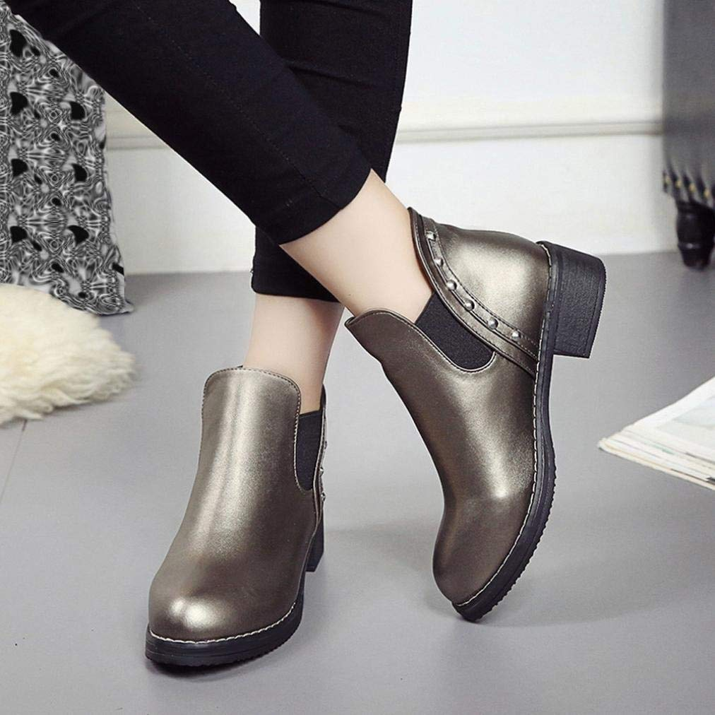 Hemlock Rivets Boots for Teen Girls Party PU Leather Ankle Booties Shoes Women Martin Boots Flat Snow Shoes by Hemlock (Image #5)