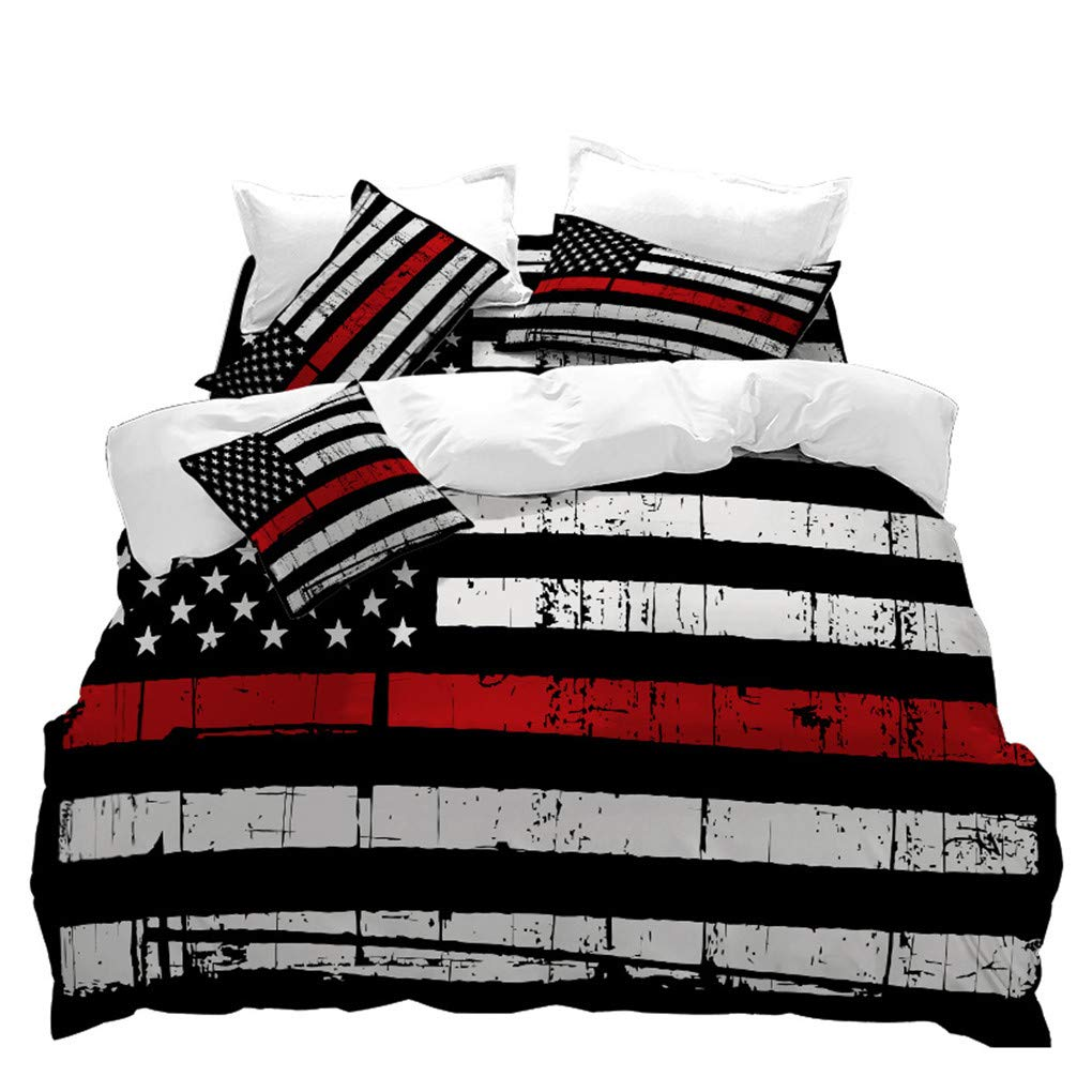 VITALE 5 Pieces Full Size Bedding Set,American Flag Printed Sheets Set,Red Stripe Bed Set,Duvet Cover,Fitted Sheet,Flat Sheet,2 Pillowcases
